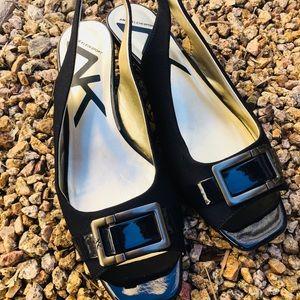 Anne Klein Sport Peep Toe Slingback Navy pumps 10